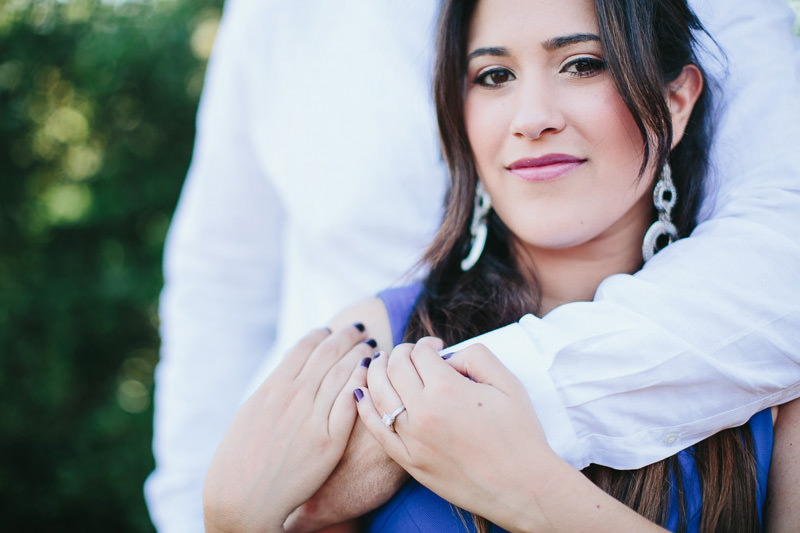 couple during engagement session hugging