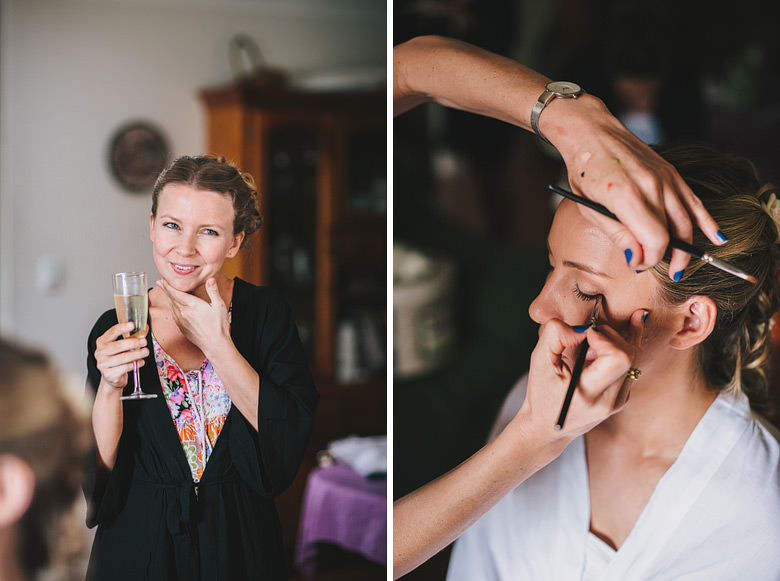 Wedding bride getting makeup done