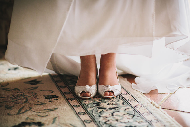 Bridal shoes, wedding dress