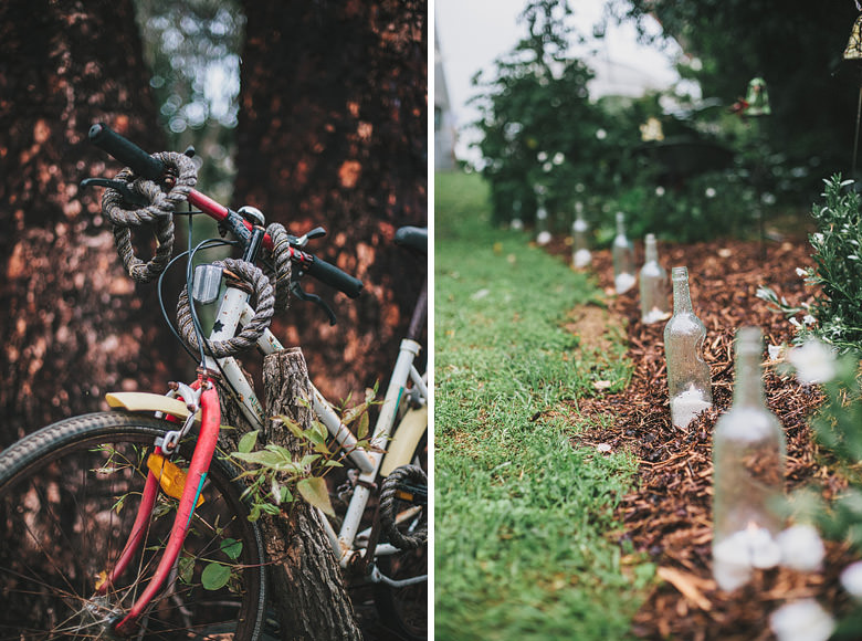 Wedding decorations, bicycle, recycled bottles