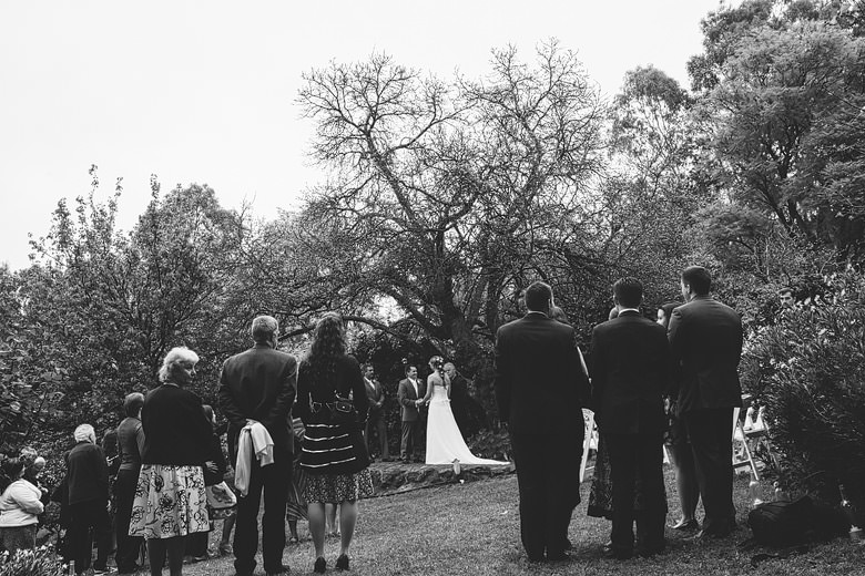 Beautiful perth hills wedding ceremony under mulberry tree, photojournalistic
