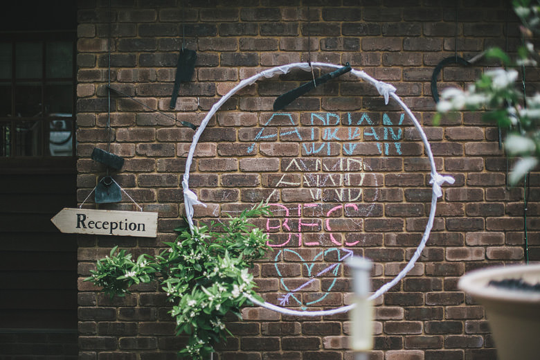 wedding decoration, chalk, hoop, reception sign, unique