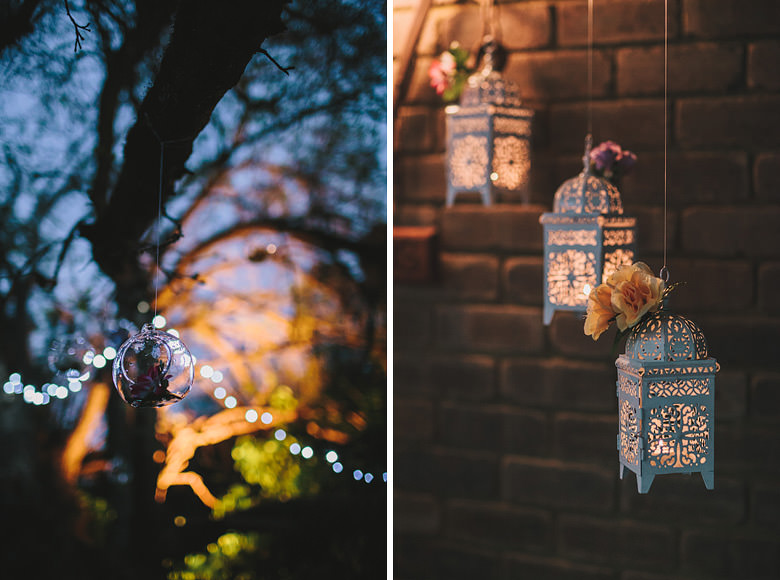 Perth hills wedding decorations, night photos