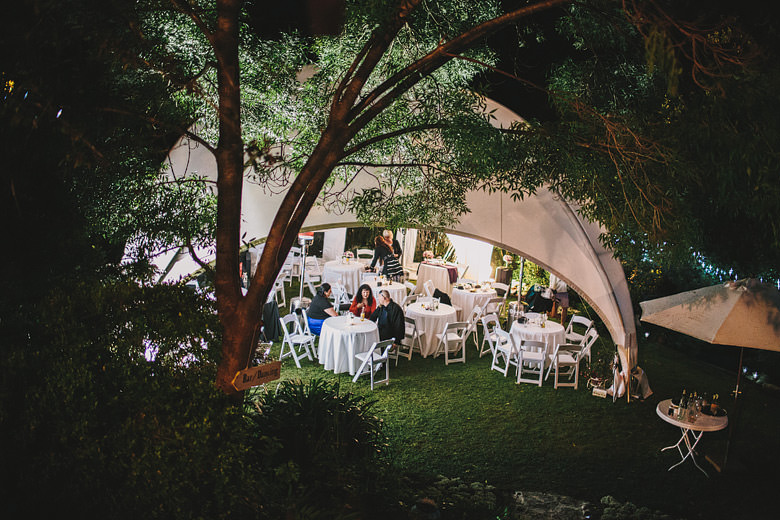 Perth hills wedding marquee, night photos