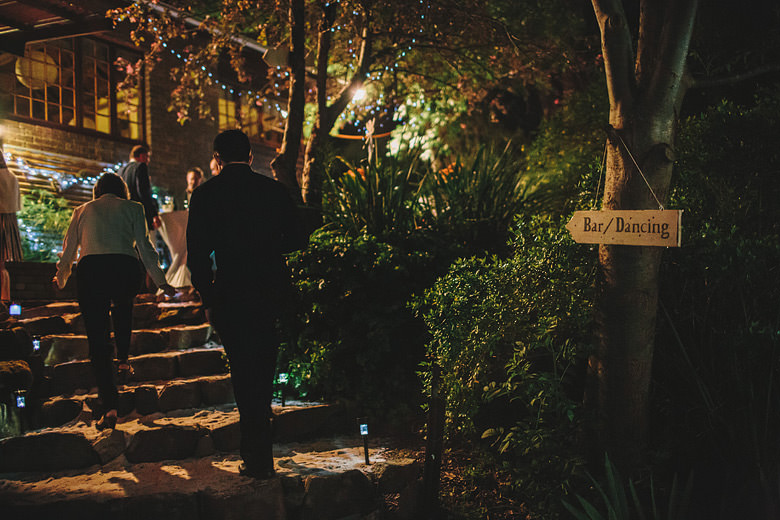 Perth hills wedding decorations, groom on stairs, night photos