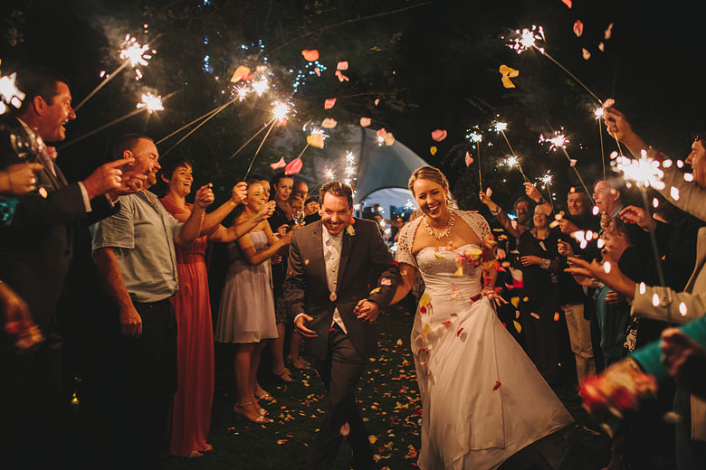 Perth hills wedding, bride groom exit, sparklers, creative night photos