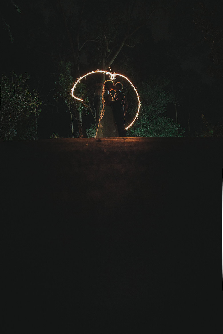 Perth hills wedding, bride groom exit, sparklers, unique night photos