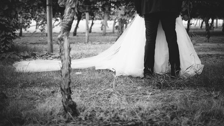 fine art bride and groom's legs in vineyard