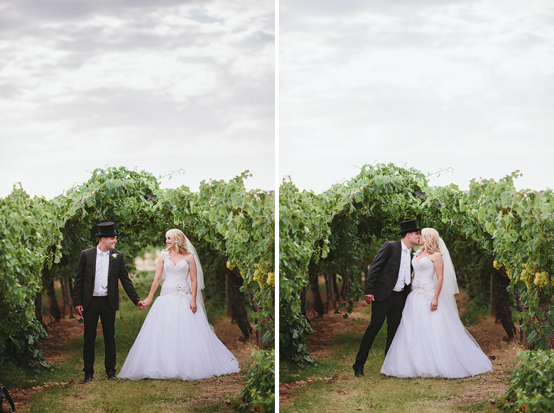 bride and groom at swan valley winery