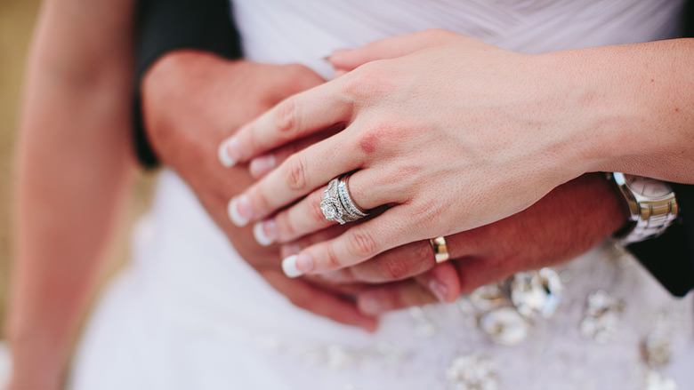 wedding rings clasped hands
