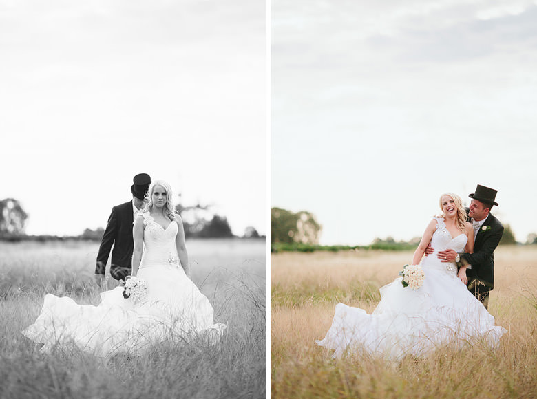 portrait of bride and groom in wheat field