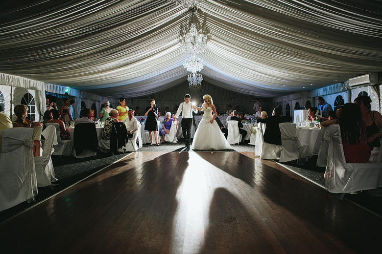 bride and groom first dance at caversham marquee