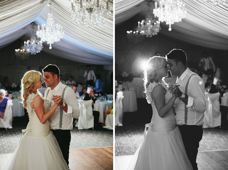 bride and groom frist dance during wedding at caversham house marquee