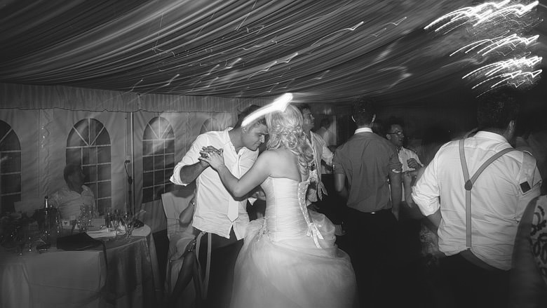 bride and groom dancing during wedding