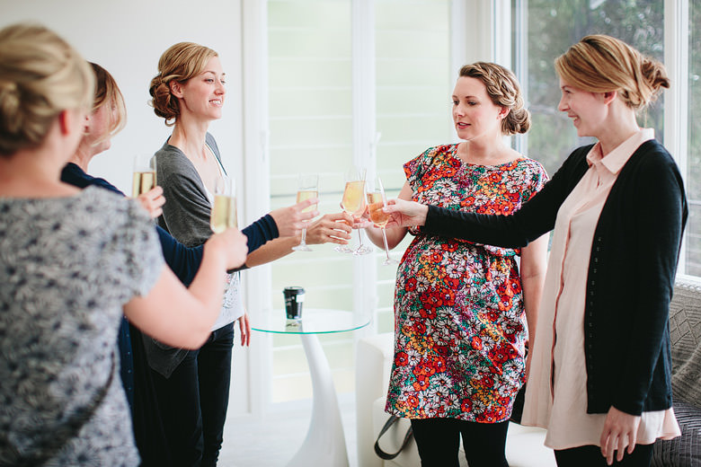 bridesmaids champagne toast candid photography