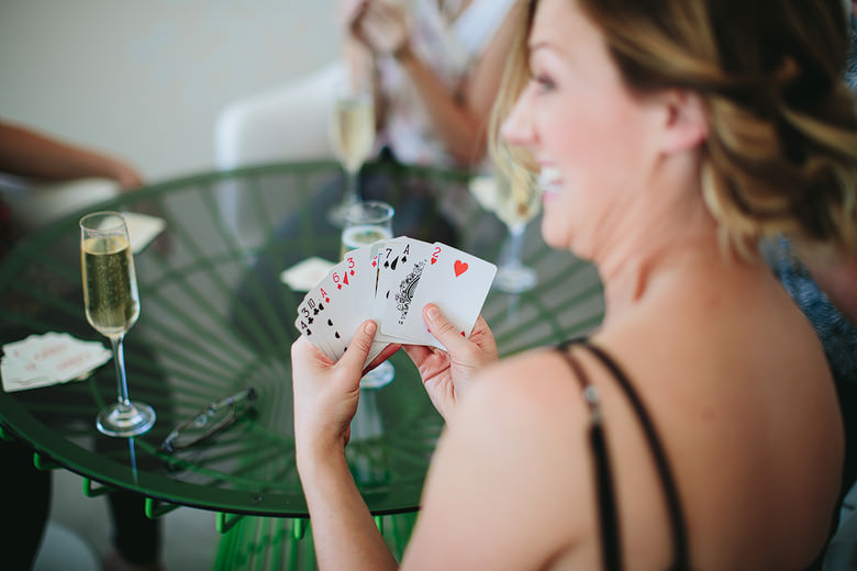 bridesmaids playing cards fun