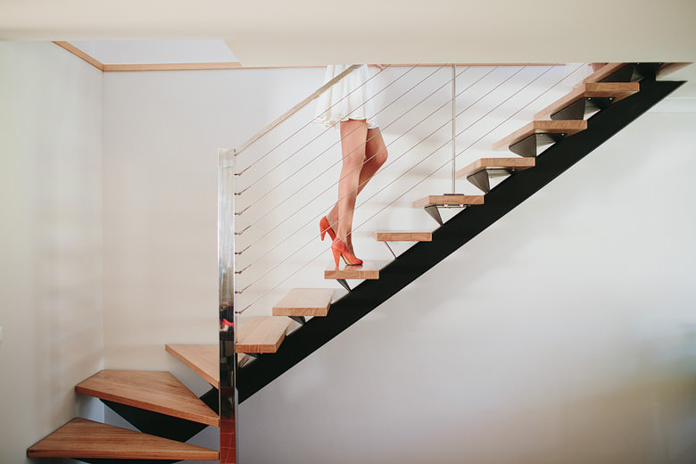 creative wedding photography stairs bridesmaid legs