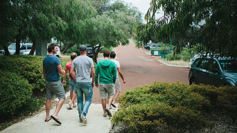 groomsmen leave bunkers beach cafe western australia