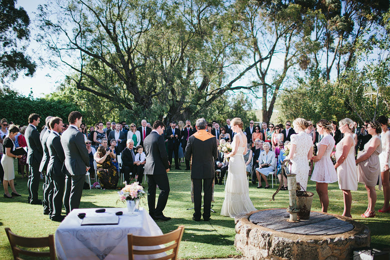Outdoor wedding ceremony vintage wedding photography
