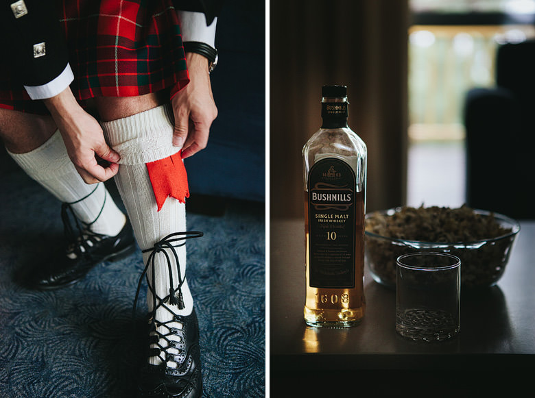 detail shot of groom's socks and breakfast of whisky