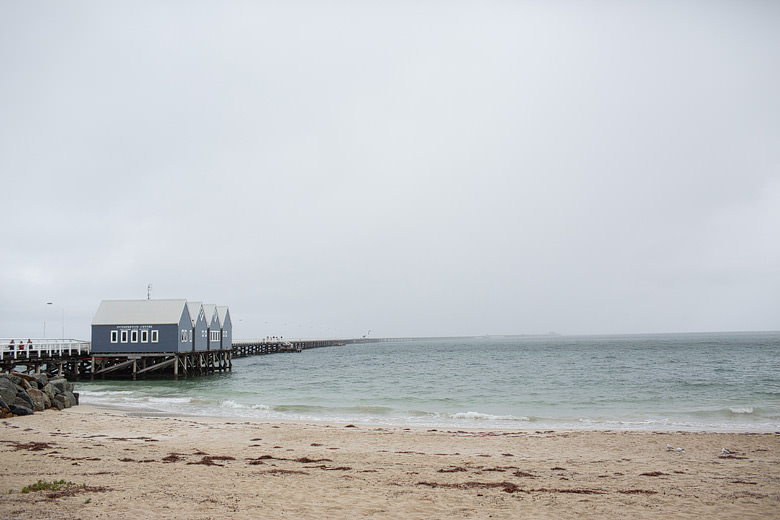 busselton jetty in the rain lanscape photo on an overcast day