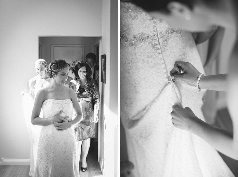 creative black and white photo of dress being buttoned up
