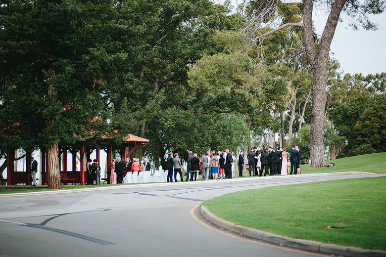 guests at kings park after wedding ceremony