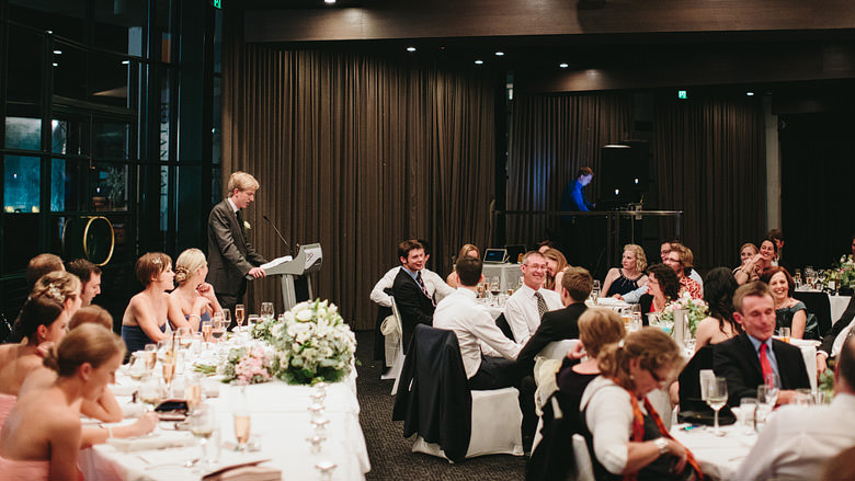 MC introducing speeches at fraser's restaurant wedding reception perth
