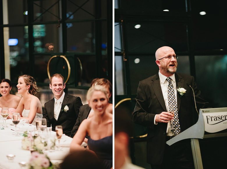 father of bride speech and candid groom reaction