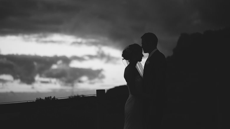 black and white silhouette of couple intimate location shoot