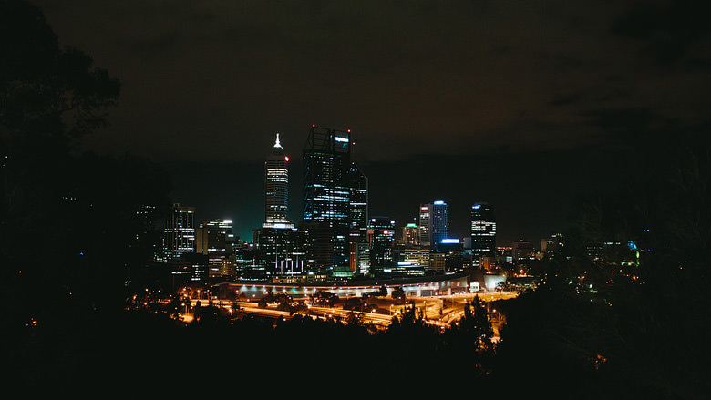 view from Kings Park of Perth City lights western australia